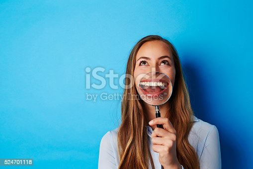 istock Huge smile on young brunette woman, studio 524701118