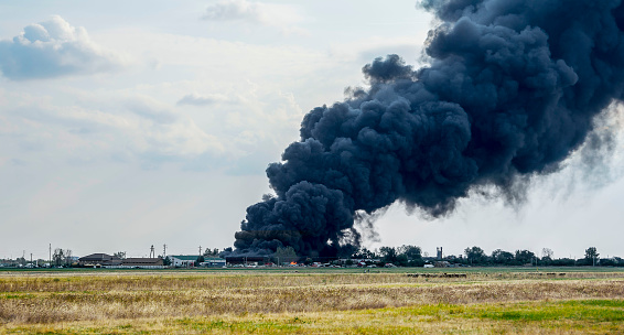 Huge smoke clouds after explosion