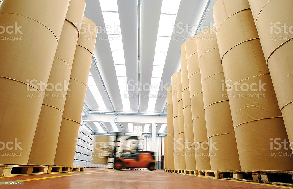 Huge spools of paper in warehouse of a printing company royalty-free stock photo