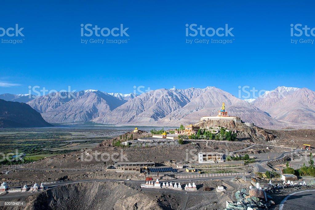 Huge statue of Maitreya Buddha in Nubra Valley, Ladakh, India stock photo