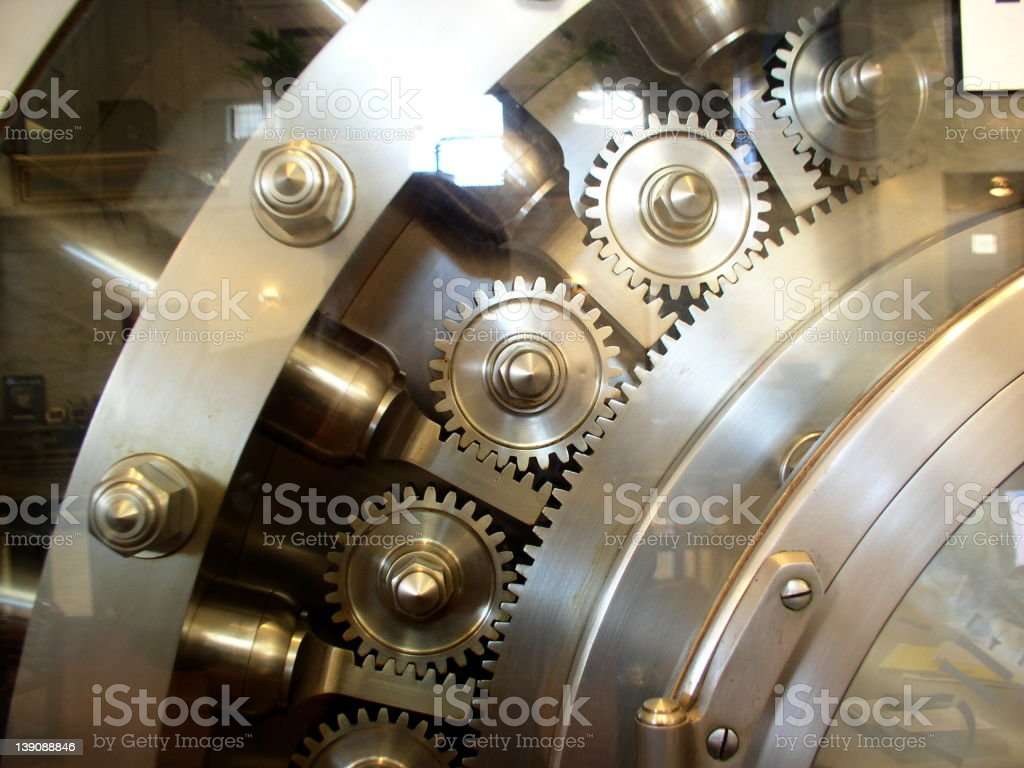 Huge steel vault door represents security royalty-free stock photo