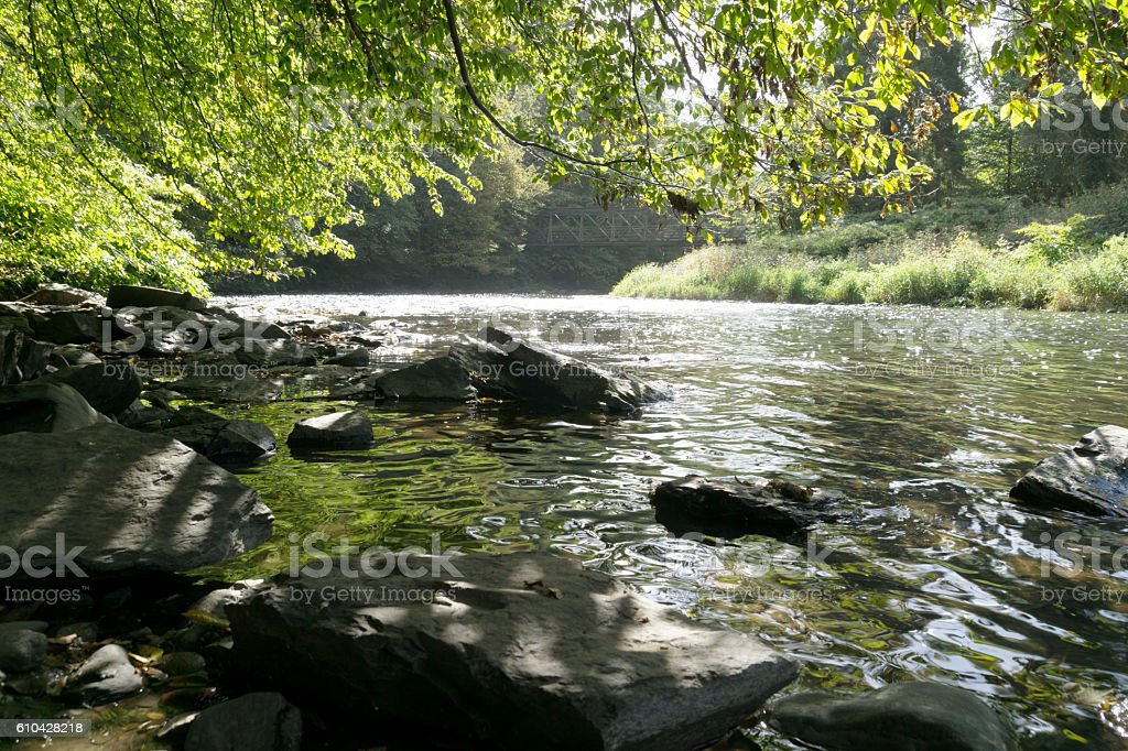 Huge Stones slowing down pace of River Wupper / Germany stock photo