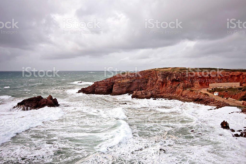 Immense storm au westcoast du Portugal photo libre de droits