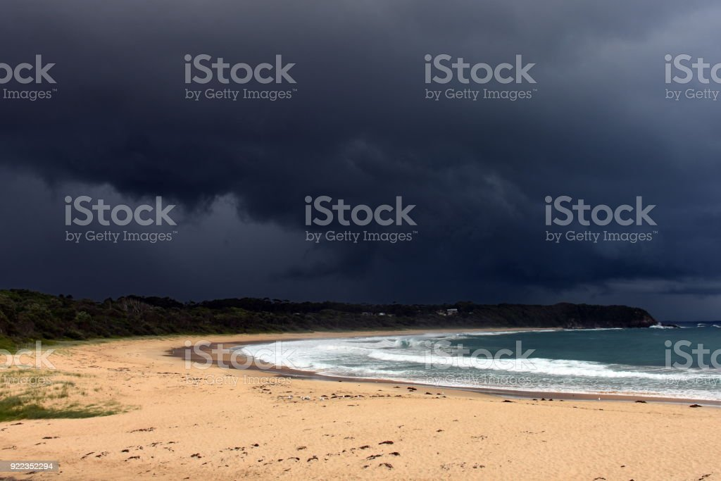Huge storm over Blackhead Beach Australia stock photo