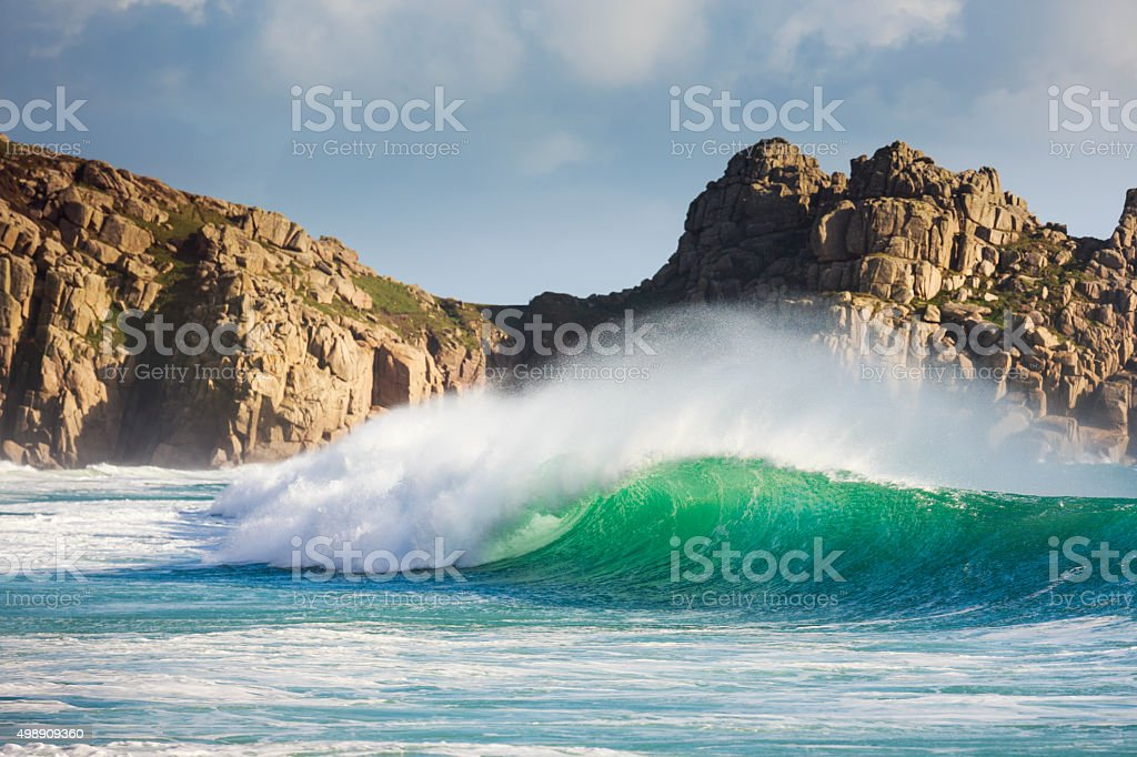 Huge surf waves in Porthcurno - Cornwall stock photo
