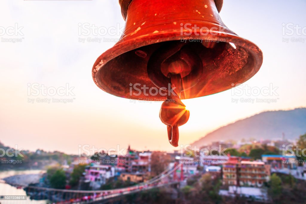 Huge temple bell in Rishikesh stock photo