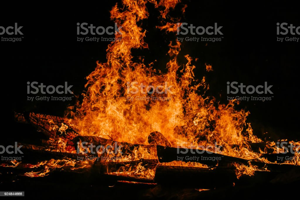 huge the flames a fire at night stock photo