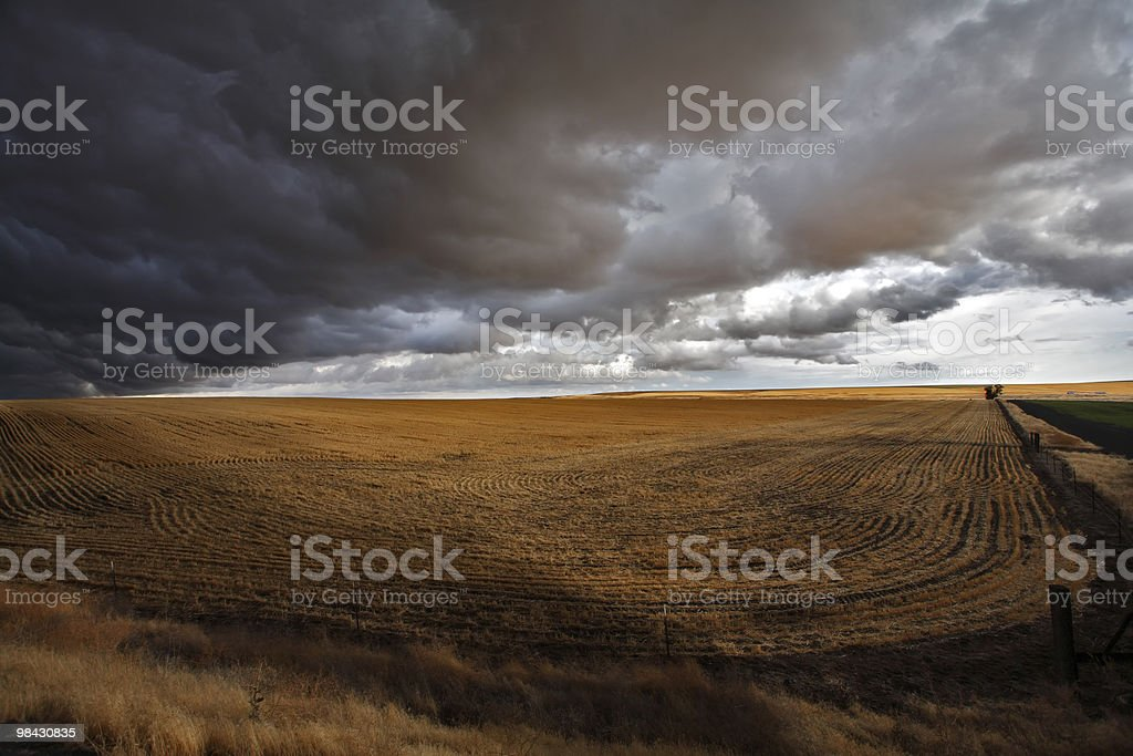 Huge thundercloud above fields of Montana royalty-free stock photo