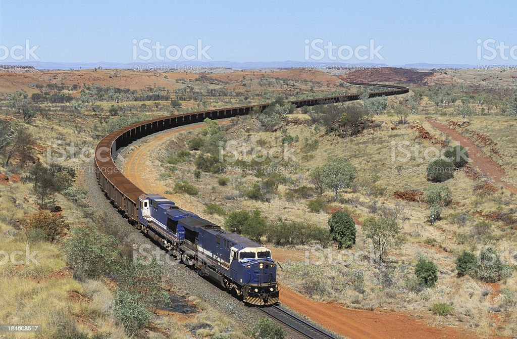 Huge trainload of 'red gold' heads to port royalty-free stock photo