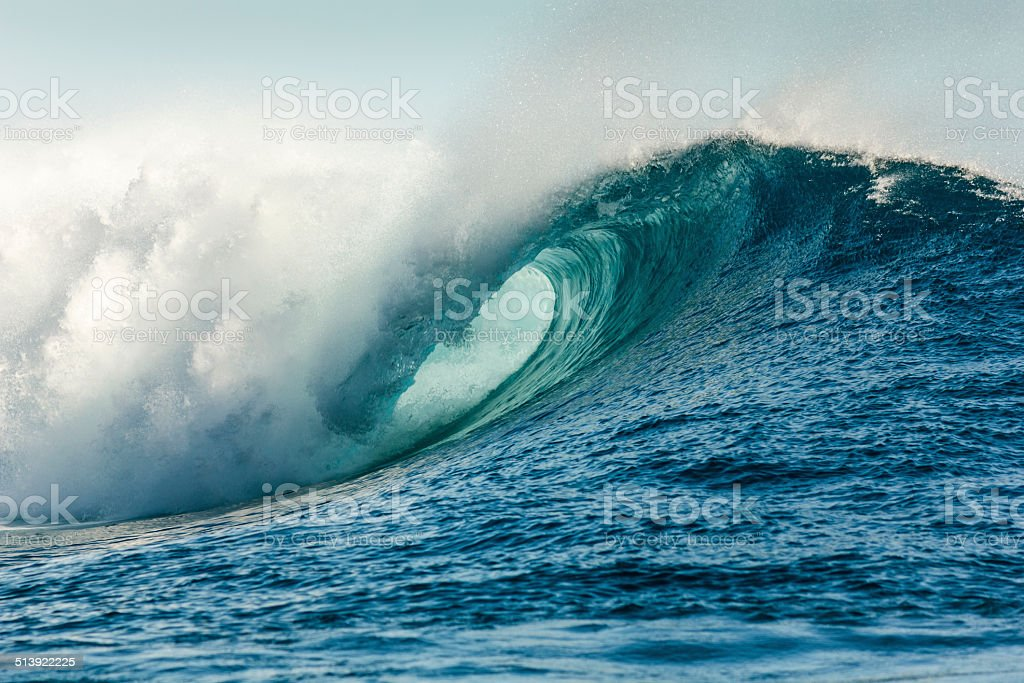 Huge Tube Wave in Teahupo'o Beach stock photo