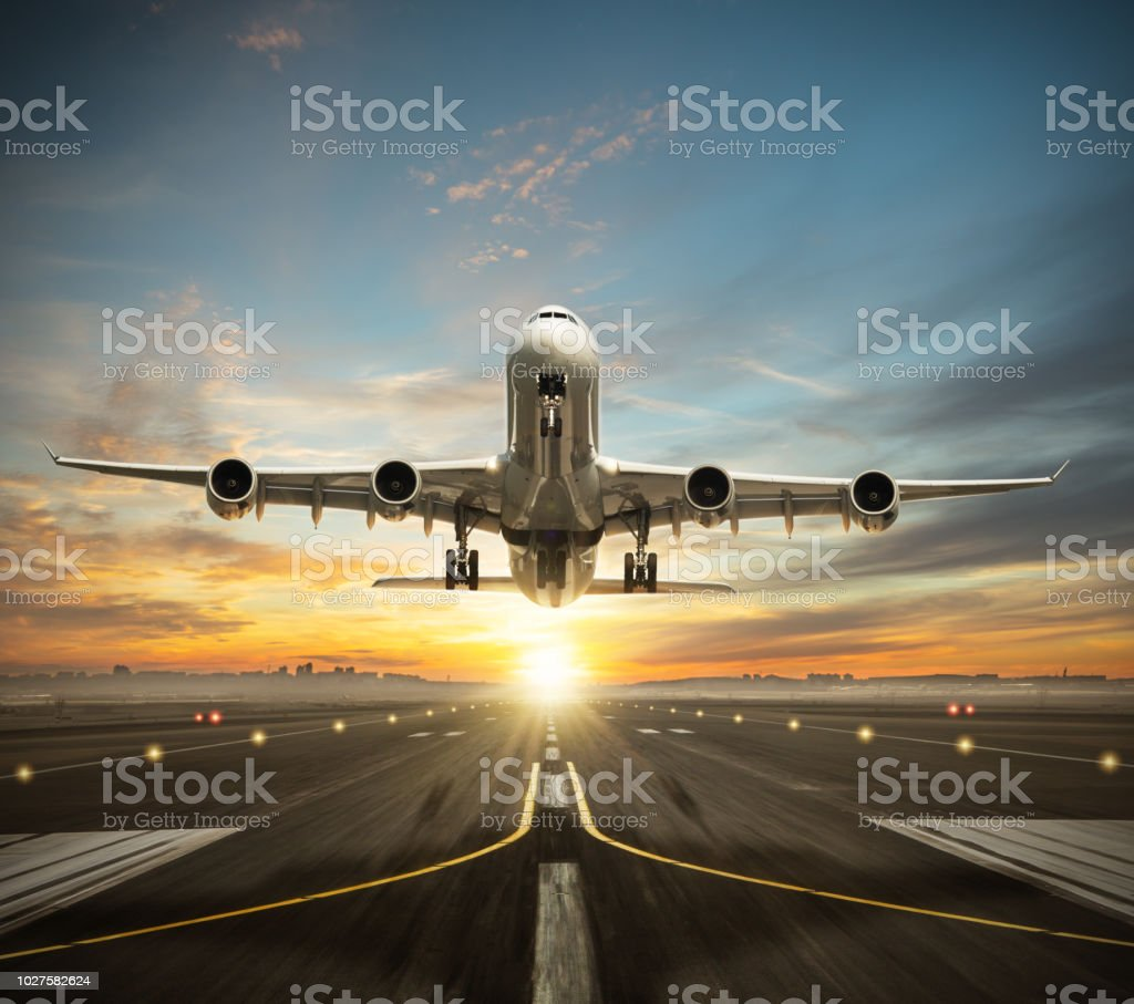 Huge two storeys commercial jetliner taking of runway. stock photo