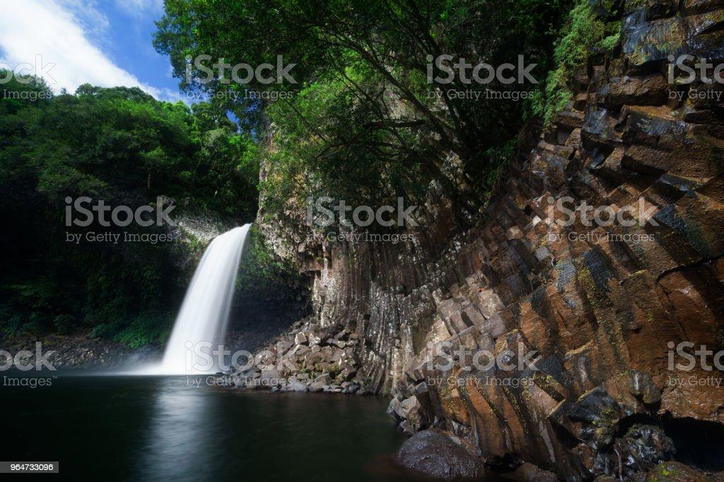Huge waterfall at Bassin la Paix in Reunion Island royalty-free stock photo