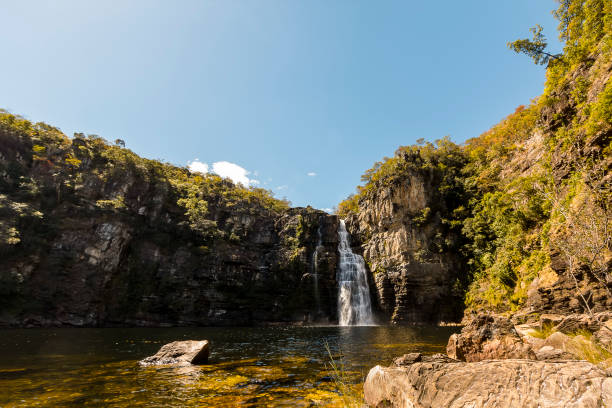 Huge waterfall in Chapada dos Veadeiros National Park, Goias, Brazil Huge waterfall in Chapada dos Veadeiros National Park, Goias, Brazil goias stock pictures, royalty-free photos & images