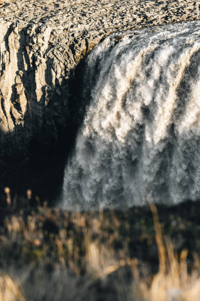 Huge waterfall in Iceland stock photo
