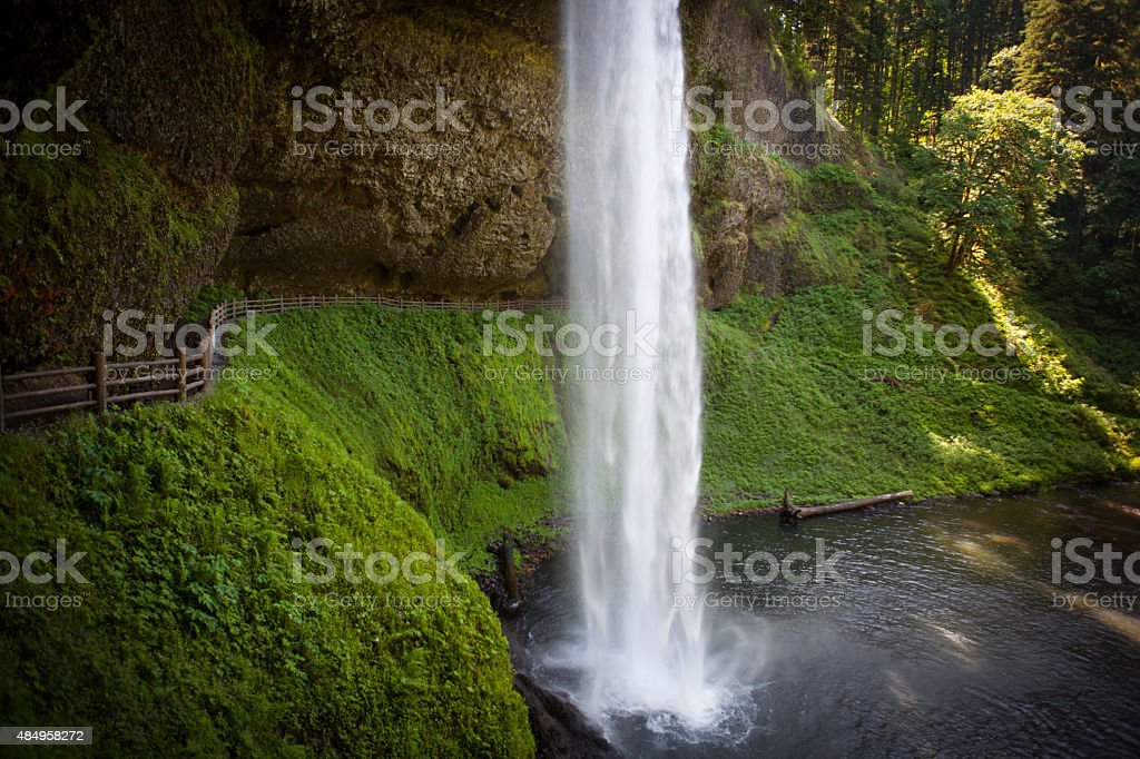Huge waterfull at Silver Falls State Park in Oregon stock photo