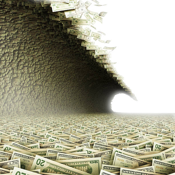 a huge wave carrying paper bills - large group of objects stock photos and pictures