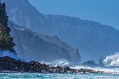 High surf along the Na Pali coast of Kauai. Tradewinds of 56+ kph were driving these big waves.
