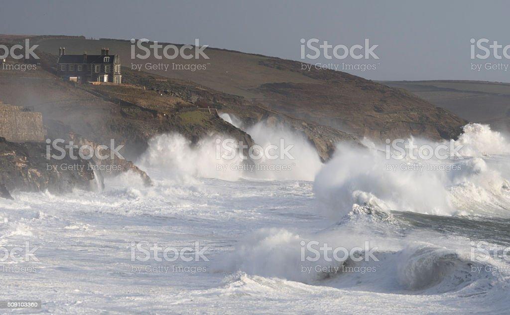 Huge waves at Porthleven during Storm Imogen stock photo