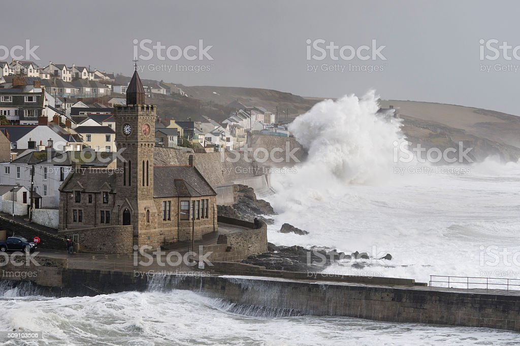 Huge waves at Porthleven near high tide during Storm Imogen stock photo