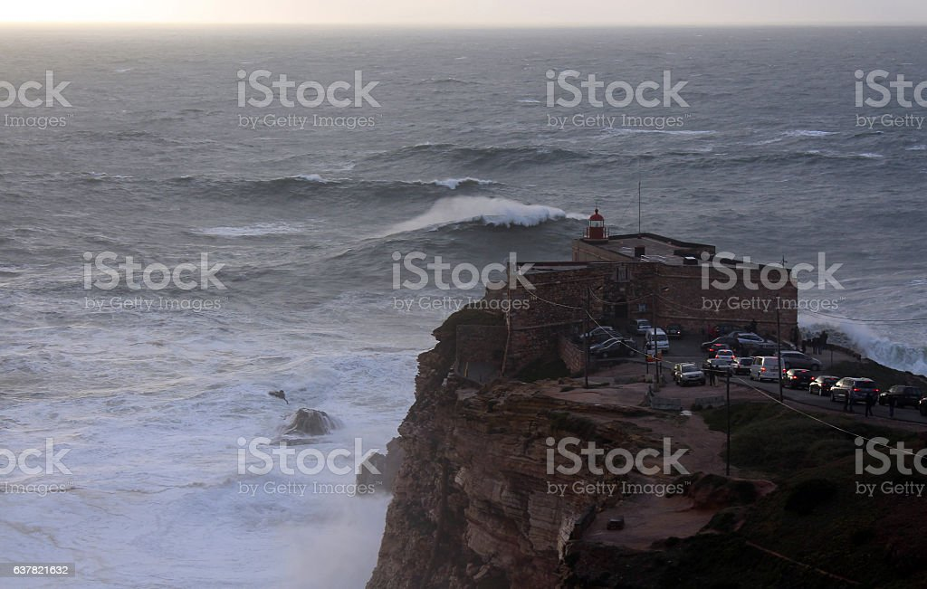 Huge waves in Nazare, Portugal stock photo