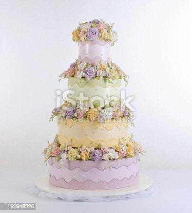 huge wedding cake in white background