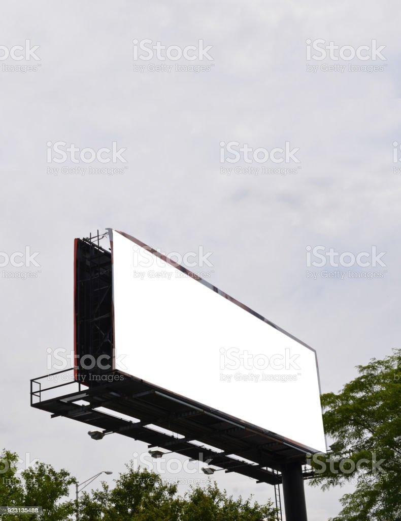 Huge white billboard with sky stock photo