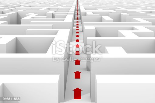 illustration of a huge white maze structure with a central shortcut