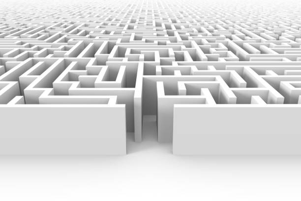 huge white maze structure with entrance at the front side stock photo
