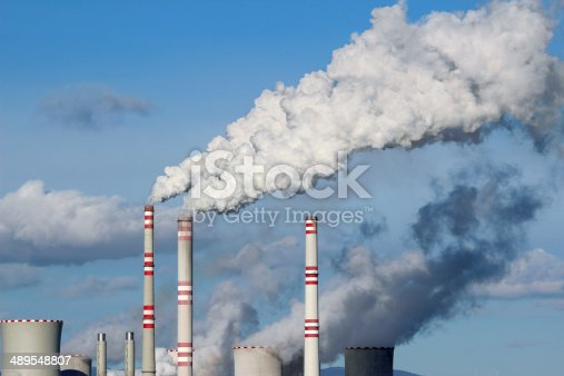 istock Huge white smoke from coal power plant 489548807