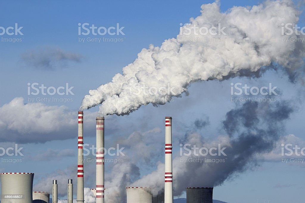 Huge white smoke from coal power plant stock photo