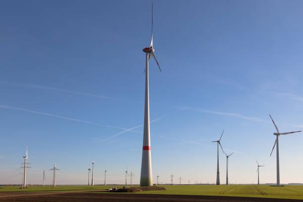 huge wind turbine in a wind farm - weißenfels stock-fotos und bilder