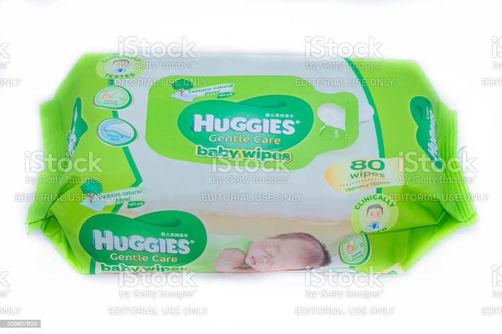 Huggies Baby wipes stock photo