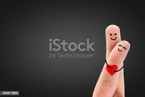 istock Hugging Finger Couple With Heart 505873850