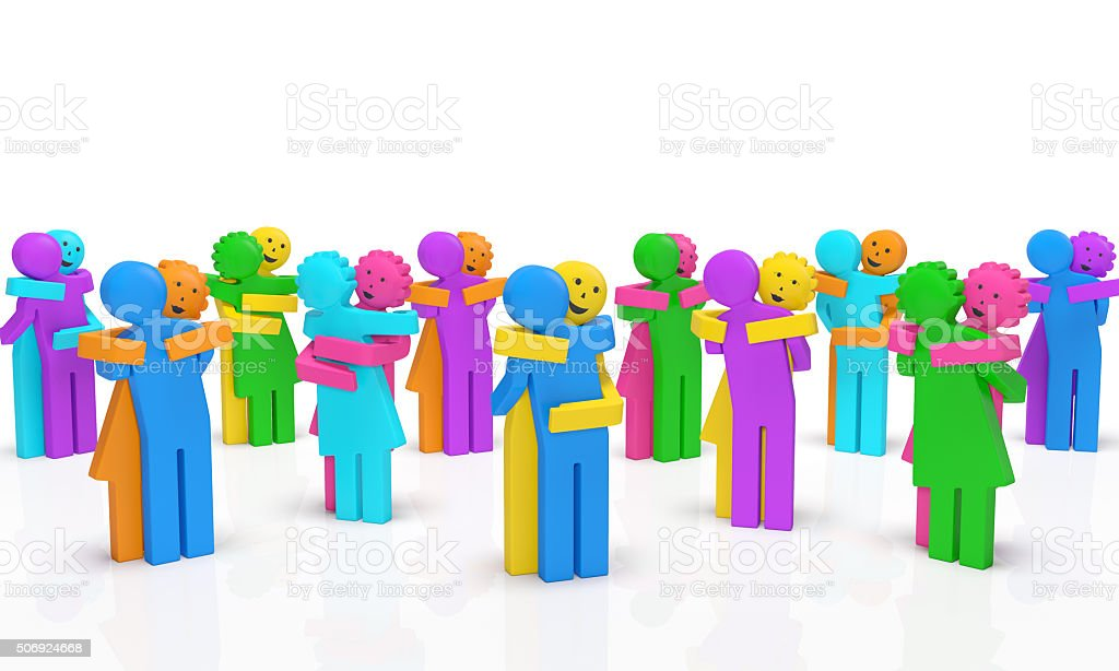 Hugging people. National Hugging day or Random Act of Kindness Day concept stock photo