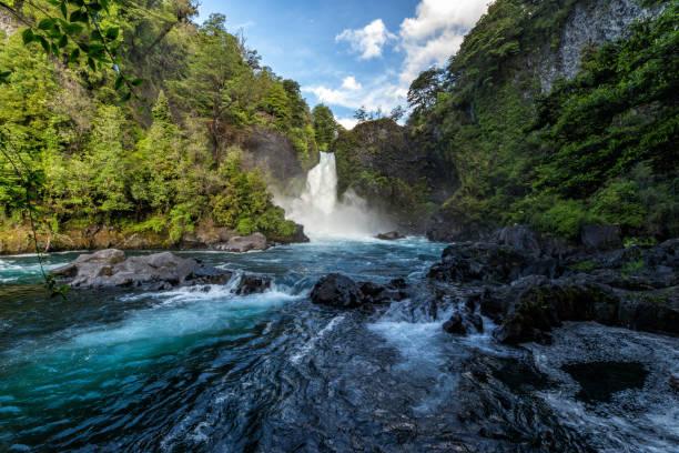 huilo-huilo waterfalls - заповедник дикой природы стоковые фото и изображения