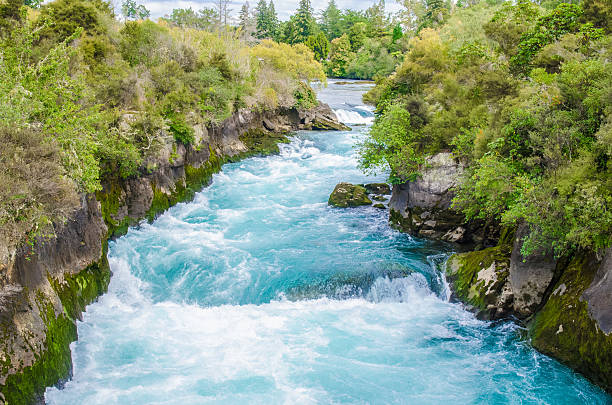 Huka Falls in New Zealand stock photo