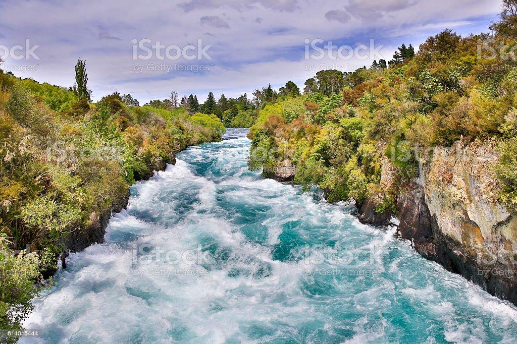 Huka Falls on the Waikato River, New Zealand. stock photo