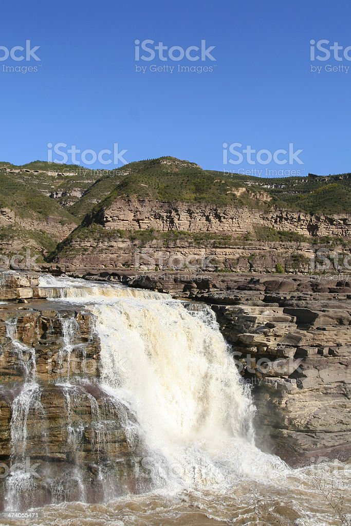 Hukou waterfall in the Yellow River stock photo