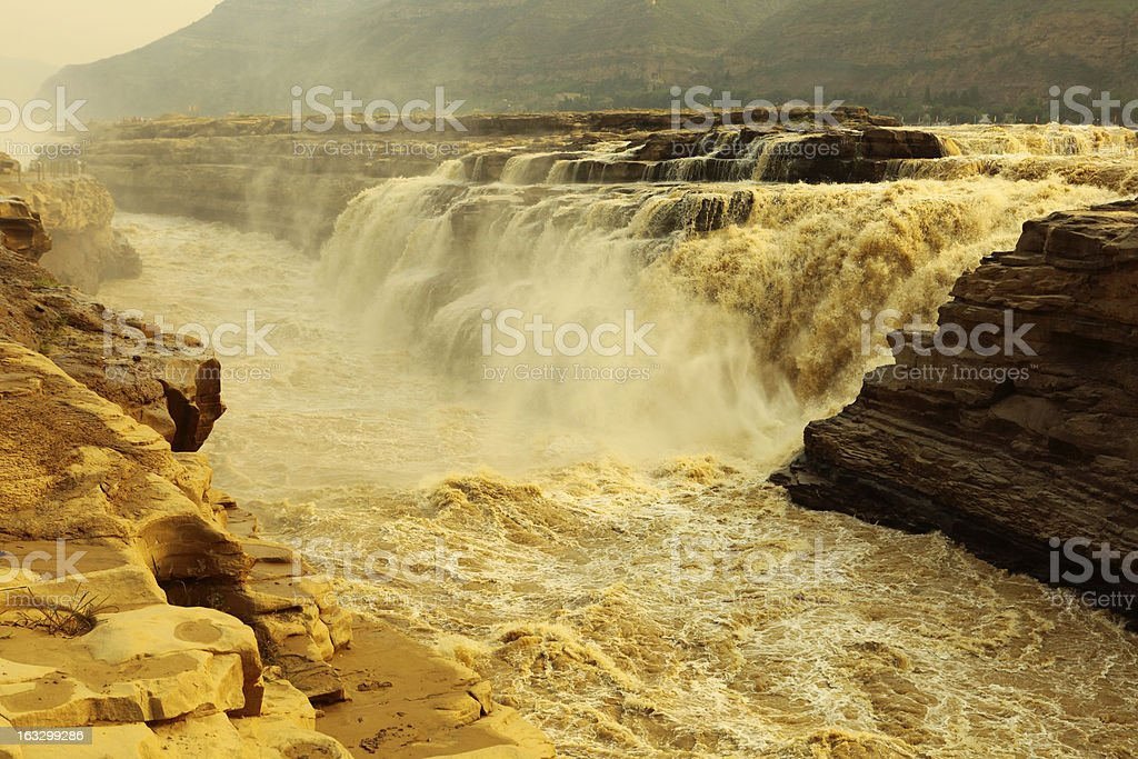 hukou waterfall stock photo