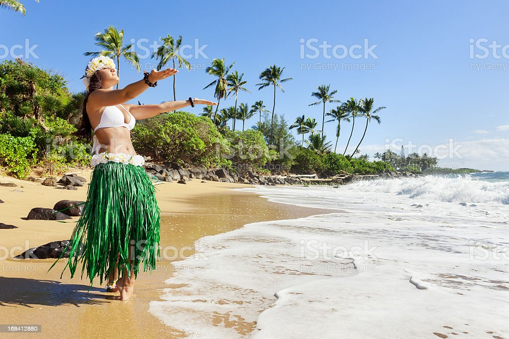 Hula Dancer on Beach stock photo