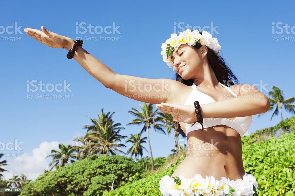 Hula Dancer on Beach royalty-free stock photo