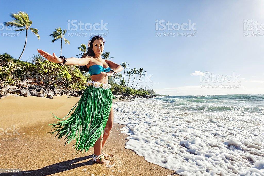 Hula Dancer on Beach stock photo