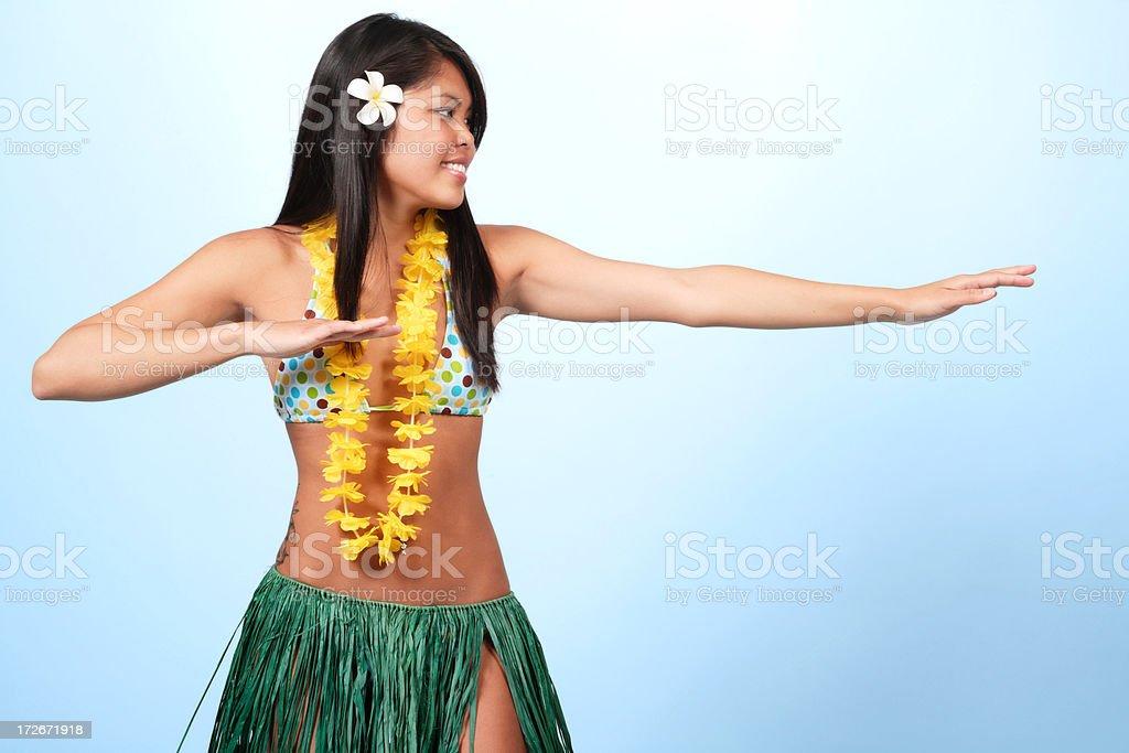 Hula Dancer on Blue royalty-free stock photo