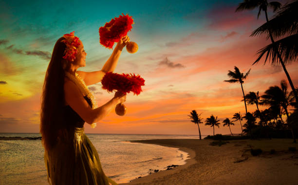 Hula Dancer am Hawaiian Beach bei Sonnenuntergang mit Palme – Foto