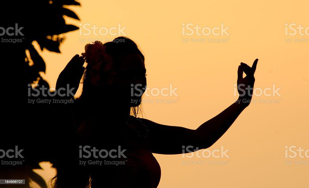 Hula Dancer Sunset Silhouette, Hawaii royalty-free stock photo