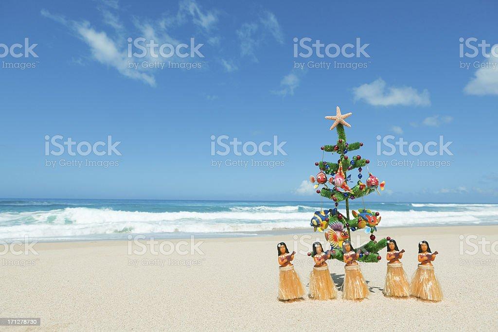 Christmas Tree Hawaii Part - 46: ... Hula Dancers And Christmas Tree In Tropical Hawaiian Beach Hz Stock  Photo ...