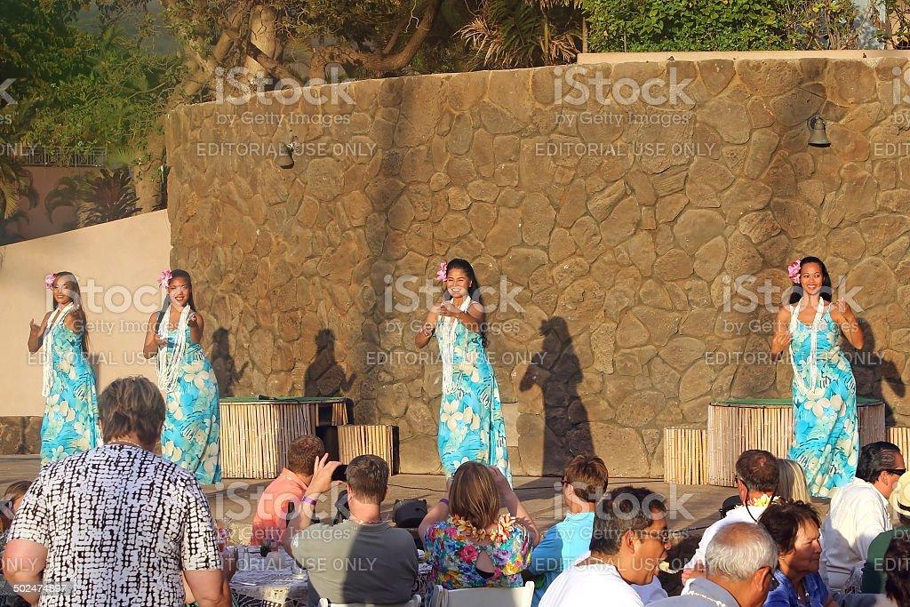 Hula Dancers at Luau stock photo
