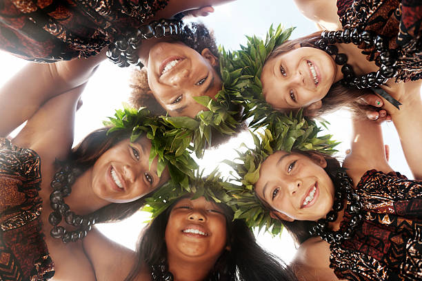 Hula dancers stock photo