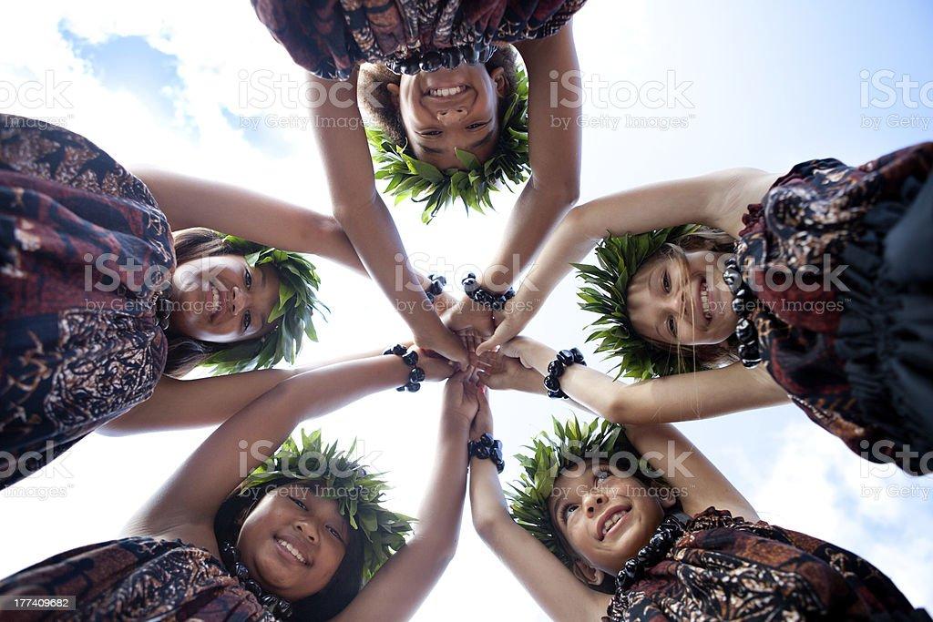 Hula Girls Smiling stock photo