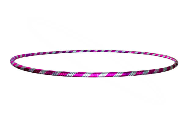 hula Hoop silver with purple isolated on white background stock photo